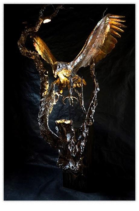 artscapelighting-copper-art-Eagle with Lizard