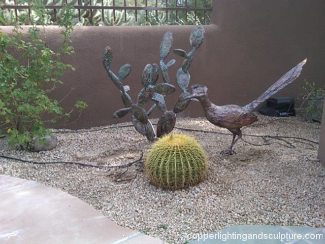 artscapelighting-copper-art-Roadrunner and pear cactus