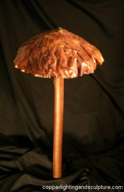 ARTSCAPE LIGHTING STUDIOS Lighted Copper Sculptured Art --single mushroom